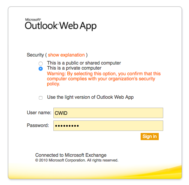 Office 365 > Exchange Online > How to    > Access email using OWA