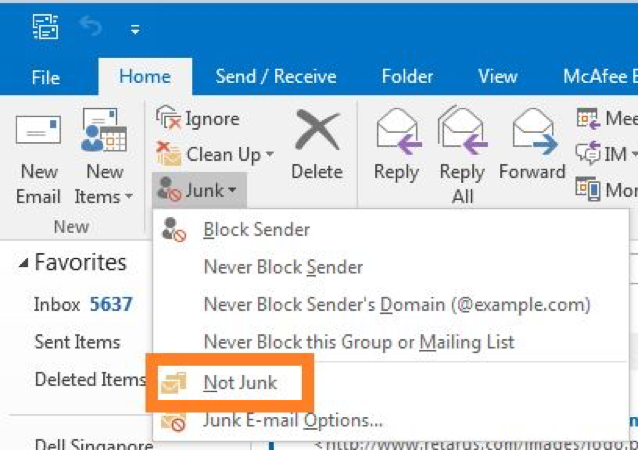 Office 365 > Exchange Online > How to    > Mark an Email as not junk